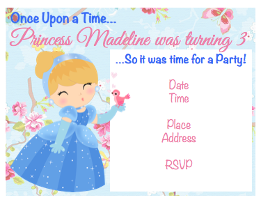 Invitation - Cinderella Princess