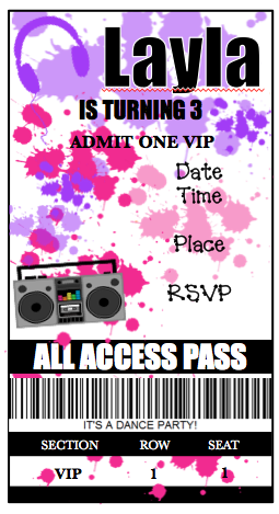 Invitation - Dance Party Ticket V1