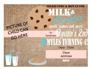 Invitation - Milk & Cookies