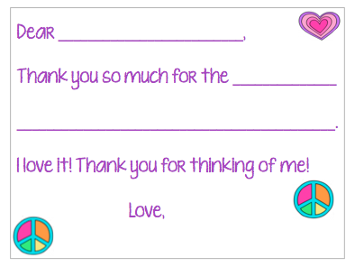 Fill-in-the-Blank Thank You Notes - Colorful Peace V1