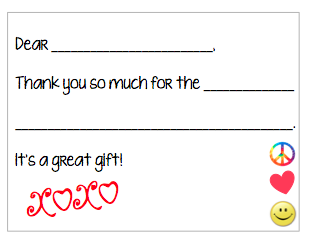 Fill-in-the-Blank Thank You Notes - Red XO