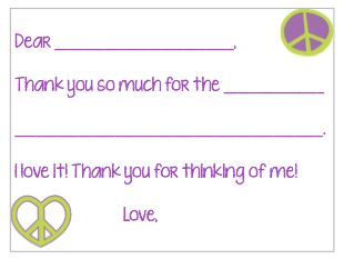 Fill-in-the-Blank Thank You Notes - Green/Purple Peace