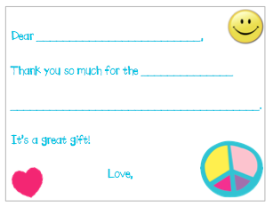 Fill-in-the-Blank Thank You Notes - Turquoise Peace Filled in