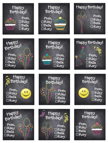 Personalized Chalkboard Gift Stickers