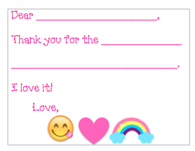 Fill-in-the-Blank Thank You Notes - Rainbow Emoji