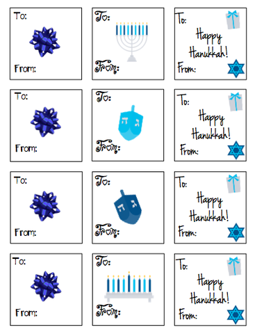 Personalized Hanukkah Gift Stickers - V2