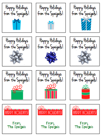Personalized Holiday Mix Gift Stickers