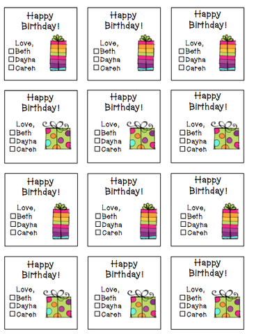 Personalized Presents Gift Stickers -V2 (pinks)