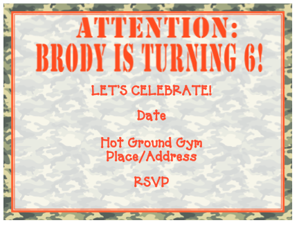 Invitation - Military (Ninja Warrior Party)