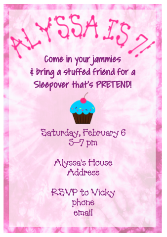 Invitation - Pink Tie Dye Undernighter