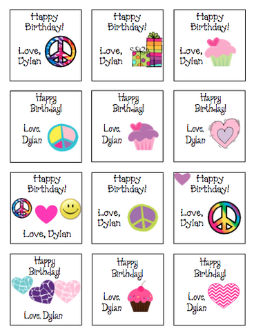 Personalized Peace & Cupcakes Gift Stickers