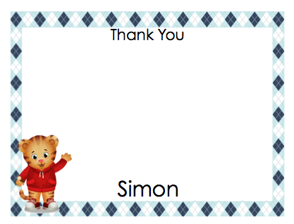 Note Cards - Daniel Tiger