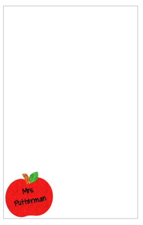 Personalized Glitter Apple Notepad