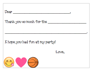 Fill-in-the-Blank Thank You Notes - Pink Basketball Party V3