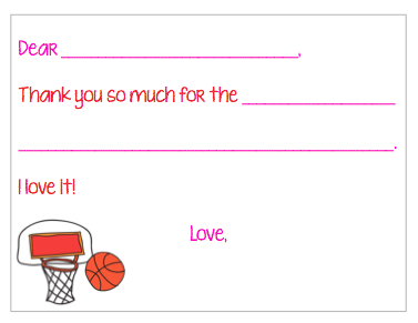 Fill-in-the-Blank Thank You Notes - Pink Basketball Party V2