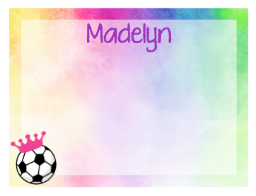 Note Cards - Rainbow Watercolor w/ Soccer