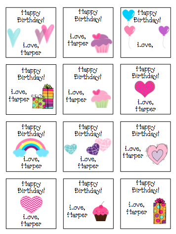 Personalized Hearts Rainbows Presents Gift Stickers