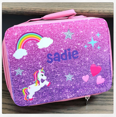 Lunch Box - Purple Glitter w/ Unicorn