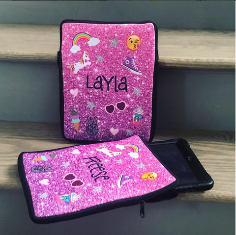 "iPad Case - Pink/Purple Glitter ""The Layla & Reese"" style"