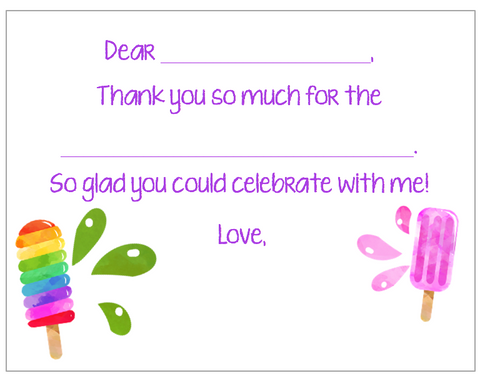 Fill-in-the-Blank Thank You Notes - Popsicles Dripping