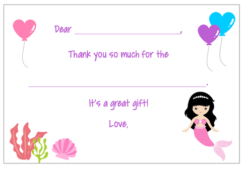 Fill-in-the-Blank Thank You Notes - Mermaid V3