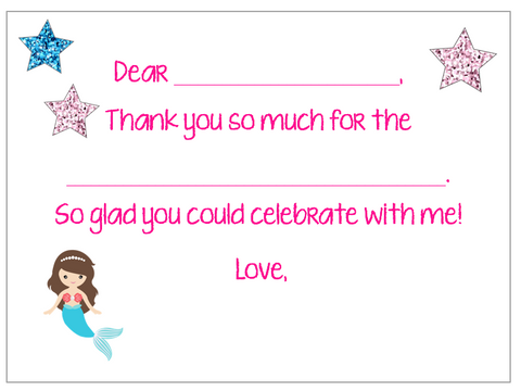Fill-in-the-Blank Thank You Notes - Mermaid V1
