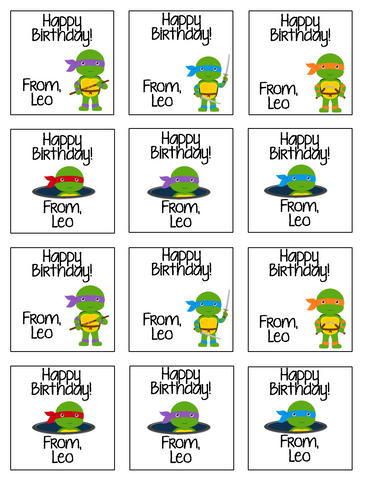 Personalized Ninja Turtles Gift Stickers