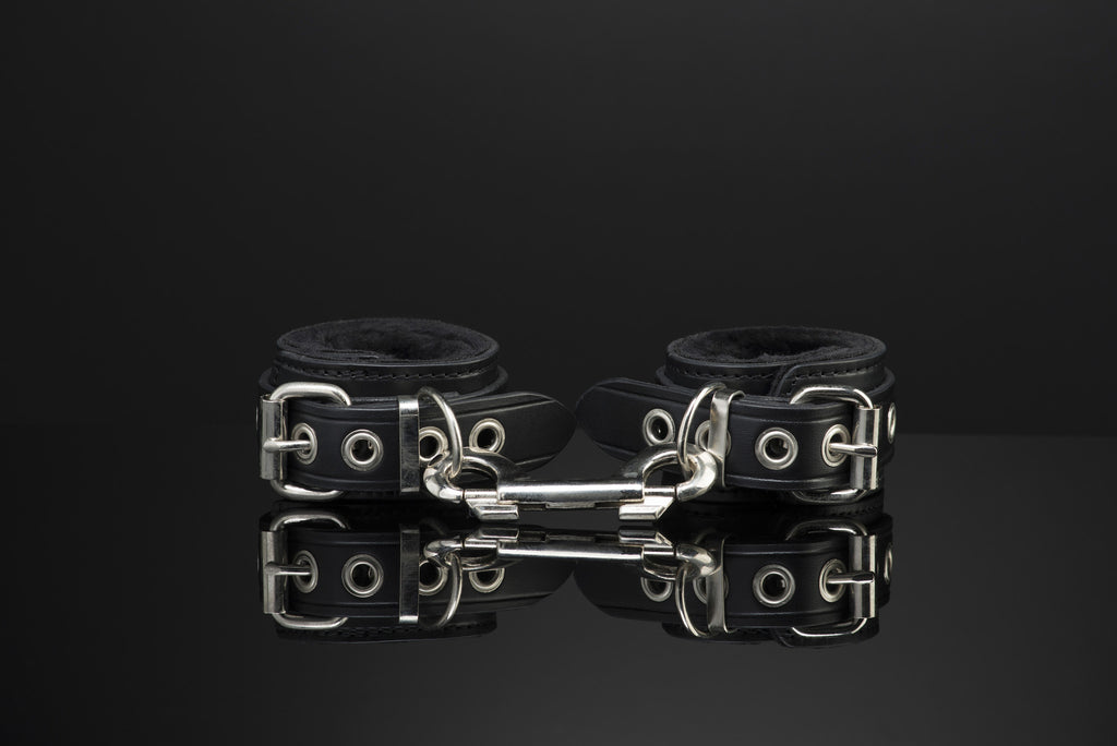 Leather Wrist Fur Lined Handcuffs by SAX