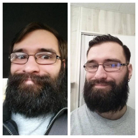 beard trim before and after