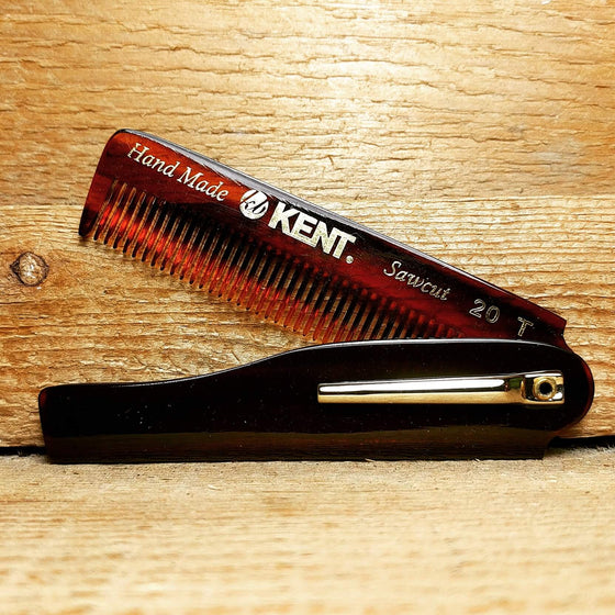 Kent 20T Folding Beard Comb with Pocket Clip