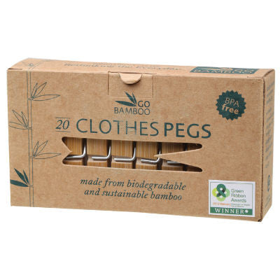 Go Bamboo Clothes Pegs 20 Pack