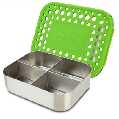 LunchBots Stainless Steel Quad Lunchbox Green