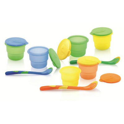 Nuby BPA Free Storage Bowls with Feeding Spoon - 4 pack