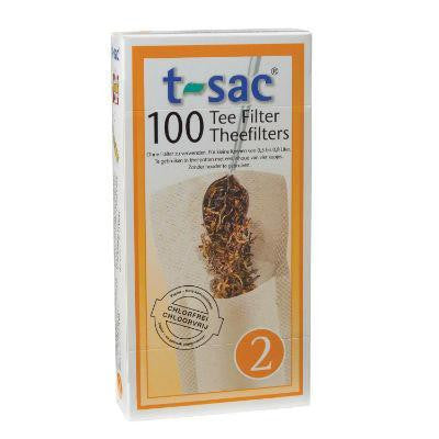T-Sac Tea Filters 100 Pack Unbleached (Size 2 - for four cup tea pots)