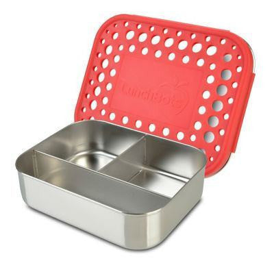 LunchBots Trio Red Dots Stainless Steel Lunchbox