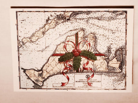 Island Map with Bow Boxed Christmas Cards