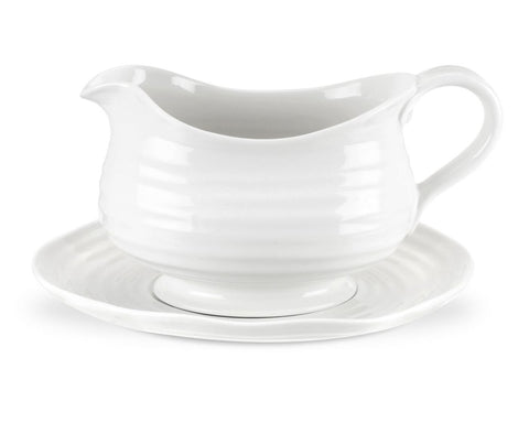 White Gravy Boat and Stand