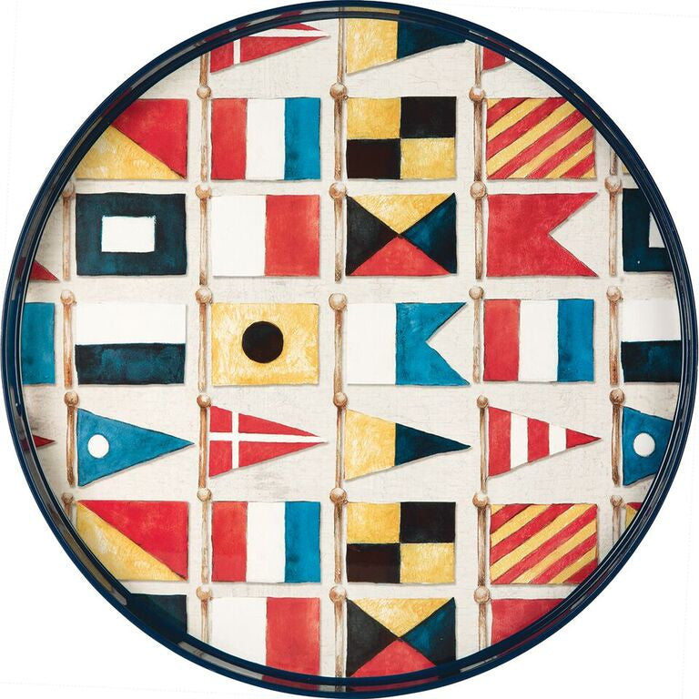 Nautical Flags Coco Tray 18 in