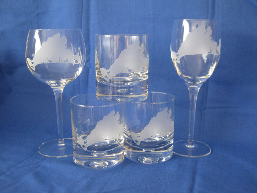 Martha's Vineyard Evergreen Crystal Glass and Stemware