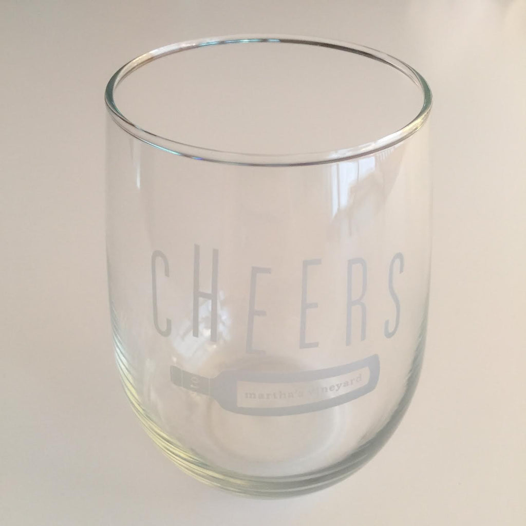 Stemless 'Cheers' Wine Glass