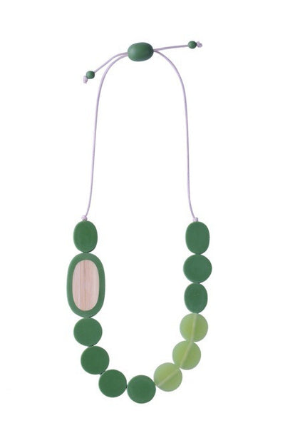 Pebble Necklace - Resin/Bamboo - Green