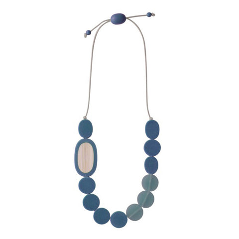 Pebble Necklace - Resin/Bamboo - Steel Blue