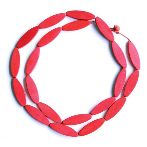 Sea Tangle Wooden Necklace - Bright Red