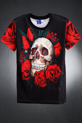 mens shirt/men's shirt/men's summer shirt/mens tops/Loose Top/ naive american/ Mens back rose skull tshirts