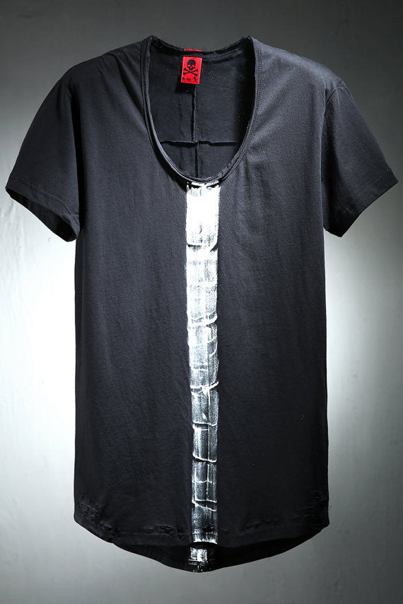 Men's Center painting damage loose neck T-shirt/boss / indie / festival / classic