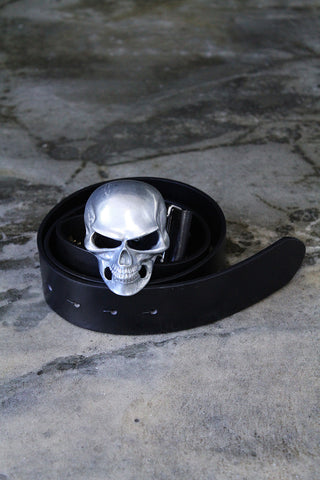 Silky skull leather belt