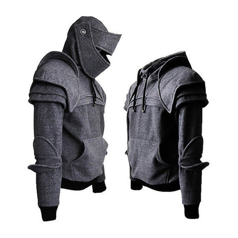 Dark Grey Duncan Armored Knight Hoodie(100% Handmade) Made To Order/streetwear/rock and roll/Geekery