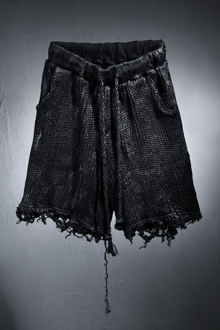Black Coated Damaged Knit Loose Fit Shorts