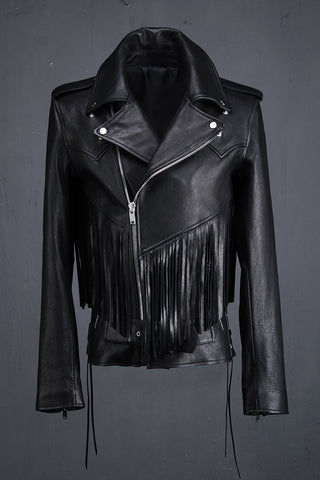 Fringe Detail Sheepskin Biker Jacket