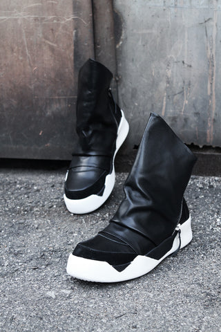 Mask Smooth Leather High Top Sneakers